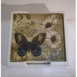 Set of 6 Coasters Blue Butterfly