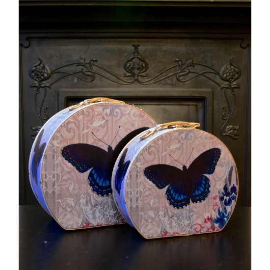 Set of 2 Briefcases - Blue Butterfly