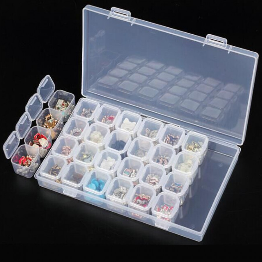28 Slots Plastic Small Parts Storage Compartment Craft Beads Jewellery Tools UK