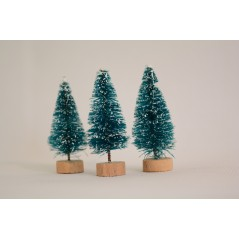 3 Pcs Mini Sisal Bottle Brush CHRISTMAS TREES Santa Snow Frost Village House