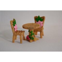 3 pcs/Set Table Chair Resin Craft Micro Landscape Ornament Fairy Garden Miniature Home Decoration Mini Craft Dollhouse