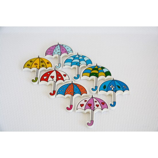 10 pcs Cute Kid Wood Handmade Umbrella Mixed Color Craft Decoration Buttons art. 4