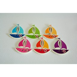 10 pcs sailing boats 2 Holes patterns cartoon Wood Sewing Button Scrapbooking art. 25