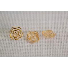 10 pcs 12.5mm Gold edge transparent rose flower acrylic buttons for decor art. 270