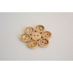 10 Pcs ''Hand Made'' with Love sewing wood button 15mm Round art. 30