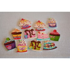 10 Pcs Cake Random Mixed flower Painted Wooden Decorative Buttons art 321
