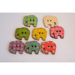 10 Pcs Beautiful Elephant Random Botones Wooden Buttons Craft Scrapbook art. 121