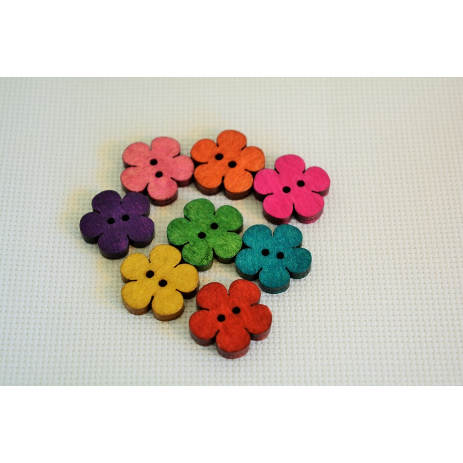 10 Pcs Mixed Flower Sewing Wooden Buttons For Children Clothes Decorative 311