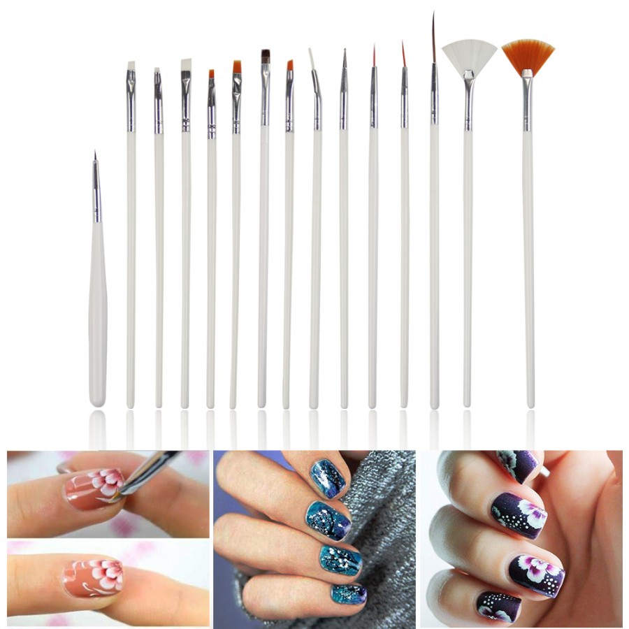 15 pcs Nail Art Decoration Brushes Dotting Tools White Decorations ...