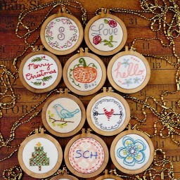 Round Wood Frame Craft Cross Stitch Fix Frame DIY Embroidery Hoop Circle Picture Home Decorations Ornament 5 x 5.7 cm.