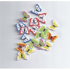 10 Pcs Mixed Color Random Butterfly Wooden Buttons Two Holes Sewing Craft art. 84