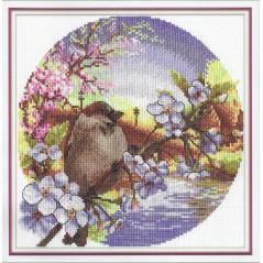 Counted Cross Stitch Kit Soft Wind (bird) PT-0164