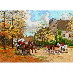 TAPESTRY CANVAS Arriving for Hunt 50X70cm 1919R