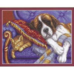 Cross Stitch Kit The Land of Dreams (dog and cat) J-1422