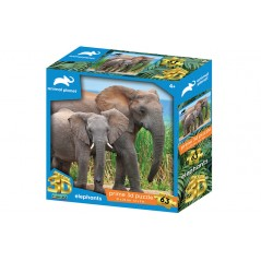 ELEPHANTS PRIME 3D PUZZLE 63 PIECES ANIMAL PLANET