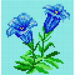 TAPESTRY CANVAS Blue flowers 15x15cm 1327D