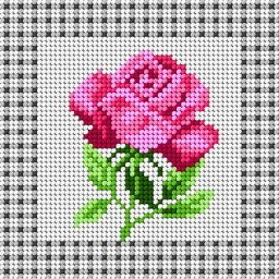 TAPESTRY CANVAS Rose 15x15cm 1398D