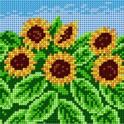 TAPESTRY CANVAS Sunflowers 15x15cm 1834D