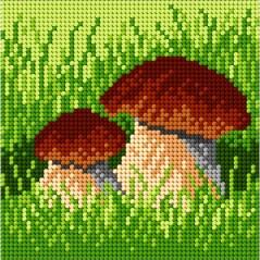 TAPESTRY CANVAS Mushrooms 15x15cm 1838D