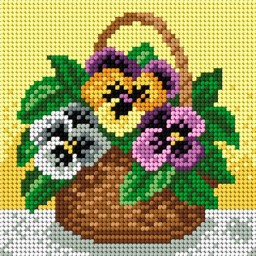 TAPESTRY CANVAS Pansies 15x15cm 1967D