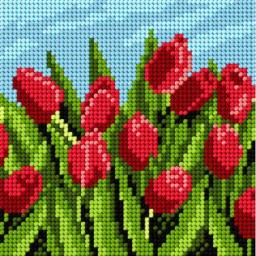 TAPESTRY CANVAS Tulips 15x15cm 1981D
