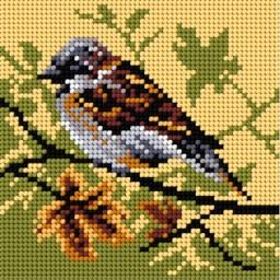 TAPESTRY CANVAS Autumn Sparrow 15x15cm 2051D