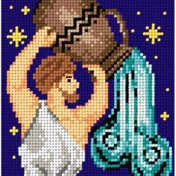 TAPESTRY CANVAS Zodiac Aquarius 15x15cm 2093D
