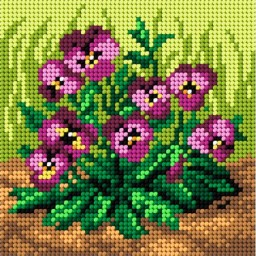 TAPESTRY CANVAS Purple Pansies 15x15cm 2107D