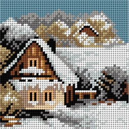 TAPESTRY CANVAS Winter Cottage by the Lake 15x15cm 2242D