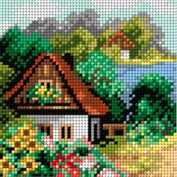 TAPESTRY CANVAS Summer Cottage 15x15cm 2243D