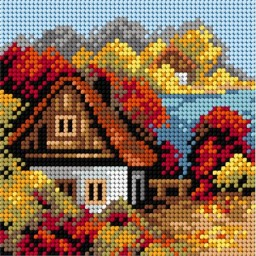 TAPESTRY CANVAS Autumn Cottage by the Lake 15x15cm 2244D