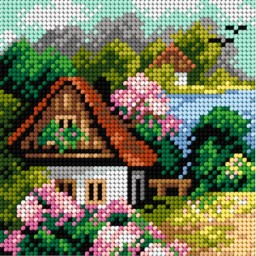 TAPESTRY CANVAS Spring Cottage by the Lake 15x15cm 2245D