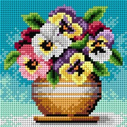 TAPESTRY CANVAS Bouquet of Pansies 15x15cm 2250D