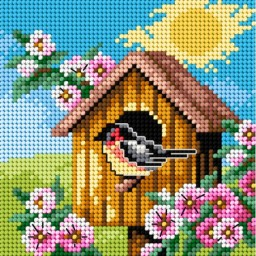TAPESTRY CANVAS Bird House 15x15cm 2303D