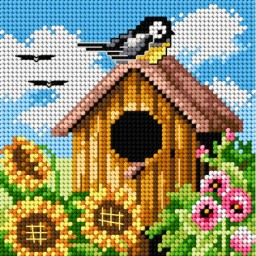 TAPESTRY CANVAS Bird House 15x15cm 2306D