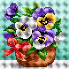 TAPESTRY CANVAS Basket of Pansies 15x15cm 2453D