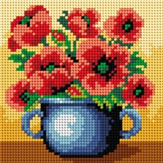 TAPESTRY CANVAS Basket of Poppies 15x15cm 2456D