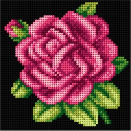 TAPESTRY CANVAS Pink Rose 15x15cm 2549D