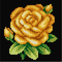 TAPESTRY CANVAS Yellow Rose 15x15cm 2550D