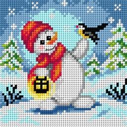 TAPESTRY CANVAS Snowman 15x15cm 2639D