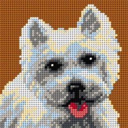 TAPESTRY CANVAS White Dog 15x15cm 2722D