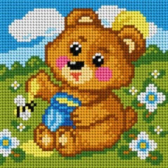 TAPESTRY CANVAS Bear 15x15cm 2813D