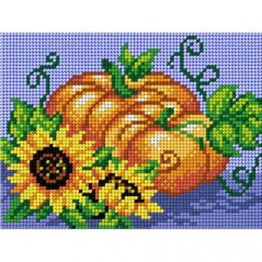 TAPESTRY CANVAS Pumpkin and Sunflowers 15x20cm 2823E