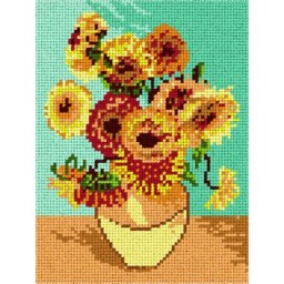 TAPESTRY CANVAS Sunflowers after Van Gogh 18x24cm 1295F