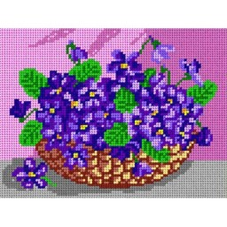 TAPESTRY CANVAS Violets 18x24cm 1312F