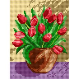 TAPESTRY CANVAS Red Tulips in a Brown Vase 18x24cm 1323F