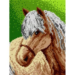 TAPESTRY CANVAS Horse with white Mane 18x24cm 1399F
