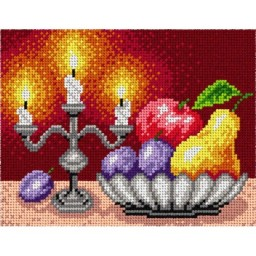 TAPESTRY CANVAS Autumn Fruits with Candlestick 18x24cm 1621F