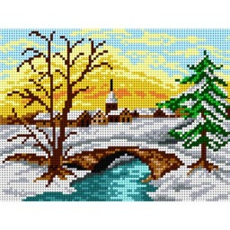 TAPESTRY CANVAS Winter Village 18x24cm 1697F