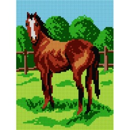 TAPESTRY CANVAS Horse on Pasture 18x24cm 1785F